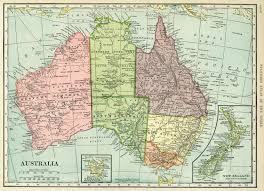 New Zealand And Australia Map C S Hammond Map Antique Map History Geography Australia Old