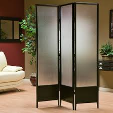 frosted glass sliding room divider with black frames and three