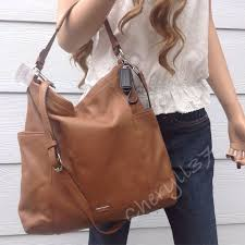 nwt coach large tan brown leather hobo shoulder bag crossbody
