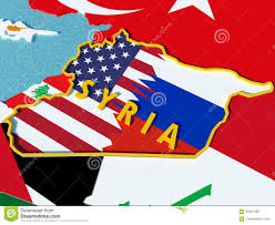 Syria Situation Map by Map Of Syria Divided With Usa And Russia Flags With Surrounding