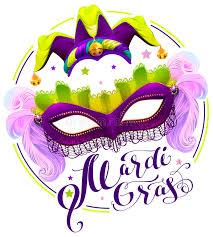 mardi gras joker mardi gras lettering text purple carnival mask and clown cap