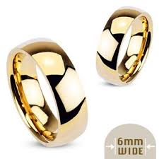 mens wedding bands gold 6mm high polished stainless steel gold plated wedding