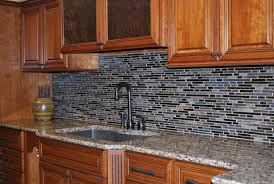 kitchen sink backsplash appealing black grey colors mosaic pattern glass tile kitchen