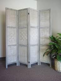 Ebay Room Divider - 4 panel floor folding screen room divider rustic washed grey woven