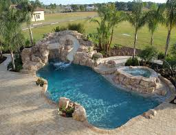 exterior swimming pool with rock curved slide and waterfall also
