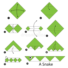 Origami Snake - step by step how to make origami a snake stock