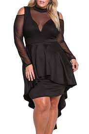 black plus size mesh trim hi low long sleeve peplum dress