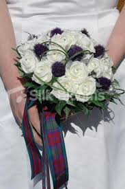 wedding flowers glasgow scottish bridal bouquet with roses thistles lindsay tartan