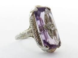 large amethyst diamond white gold art deco 14k white gold amethyst and diamond ring from lindhouse