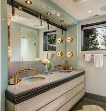bathroom contemporary with back painted glass custom made cabinets