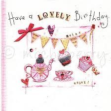 tea party birthday card vintage cards cup cakes birthday cards