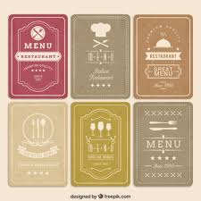 retro menu cards vector free download work baby