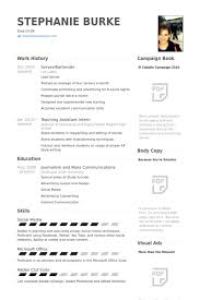 bartending resume exle server bartender resume exle media and entertainment