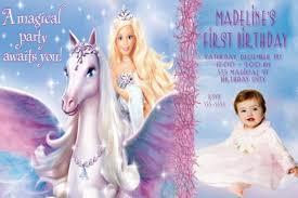 barbie magic pegasus birthday invitation