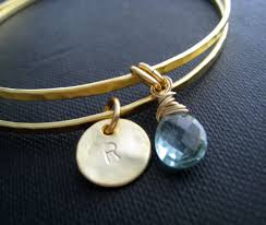 Personalized Bangle Bracelets Birthstone And Initial Bangles Personalized Bangles Set Of 2