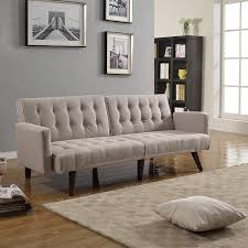 amazon com modern tufted linen splitback recliner sleeper futon
