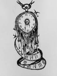 drawn clock trippy pencil and in color drawn clock trippy