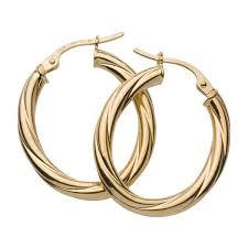 creole earrings yellow gold oval twist hoop creole earrings