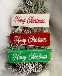 Merry Christmas Ornament Merry Christmas Sign Rustic Christmas Decorations Wooden