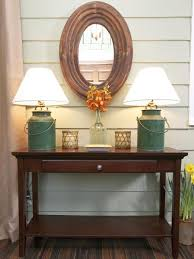 Entry Console Table With Mirror Table Outstanding Farmhouse Console Table Vignette In A Foyer