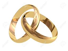 linked wedding rings two linked wedding rings on a white background stock photo