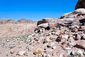 stone desert stone desert in mountain valley in petra jordan stock photo