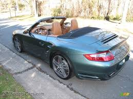 green porsche convertible 2008 porsche 911 turbo cabriolet in malachite green metallic photo