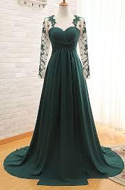 elegant long sleeve dark green evening dress 2017 chiffon long