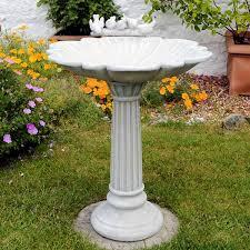 fluted resin bird bath garden ornaments direct
