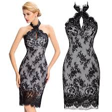 women backless black lace short mini evening prom party gown