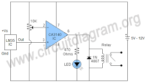 temperature activated light switch temperature controlled switch using lm35 ca3140 circuit diagram