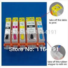 reset pixma ix6560 5pcs lot pgi725bk cli 726bk 726c 726m 726y refillable ink cartridge