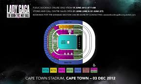 cape town stadium floor plan computicket brings lady gaga to cape town south africa captain