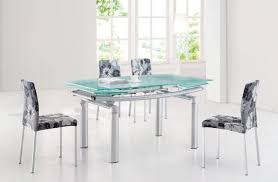 glass top modern dining table w extension leaf u0026 options