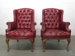 Queen Anne Wingback Chair Leather Perfect Tufted Leather Wingback Chair With Espresso Tufted Leather