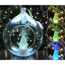 led glass globe tree ornament with tree