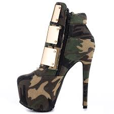 high motorcycle boots designer camouflage platform high heel women motorcycle boots