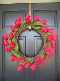 Easter Spring Decorating Ideas Pinterest red tulips wreath door decoration ideas easter spring decorating