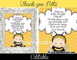 bumble bee editable thank you notes u2013 instant download