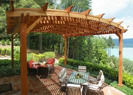 Pergola Post Design by Arched Pergola Options 20 U0027 L X 18 U0027 Arc W Mature Redwood