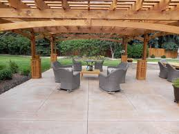 Patio Plus Outdoor Furniture by Decorating Pergola Over A Stamped Concrete Patio Plus Gray Wicker
