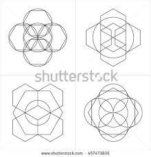 geometrical line ornaments set spiritual cosmic stock vector