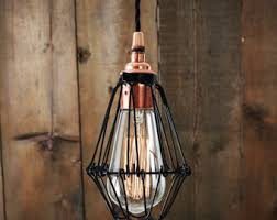 Caged Pendant Light Cage Pendant Light Etsy