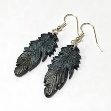 black feather earrings metallic black feather earrings blue and green
