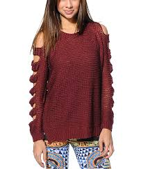 maroon sweater lira maroon knit sweater zumiez