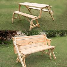picnic table converts to bench amazon com outsunny 2 in 1 convertible picnic table garden bench