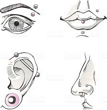 pierced body parts sketch stock vector art 163911863 istock