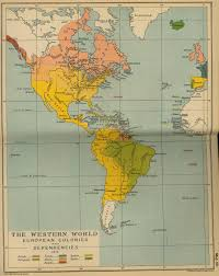 America World Map by European Colonies And Dependencies In America 1815 Full Size