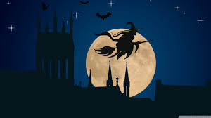 halloween witch flying hd desktop wallpaper widescreen high