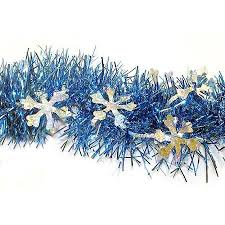 Seeking Tinsel 12 Blue Tinsel Garland With Silver Holographic
